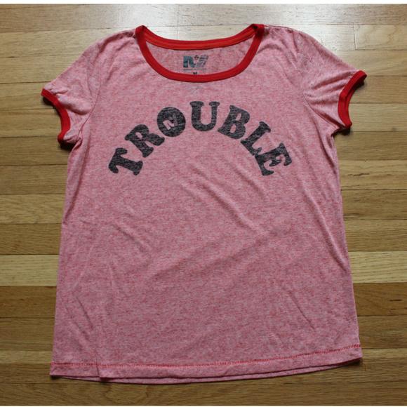 Rebel Yell Tops - REBEL YELL Trouble Linen Blend Ringer Tee Shirt M
